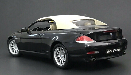 1/18 Kyosho BMW 6 Series Cabriolet 2nd Generation (E63/E64; 2003–2010) 645ci 640i 645i 650i (Black) Diecast Car Model