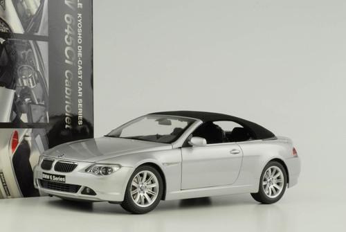 1/18 Kyosho BMW 6 Series Cabriolet 2nd Generation (E63/E64; 2003–2010) 645ci 640i 645i 650i (Silver) Diecast Car Model