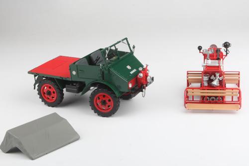 1/18 Schuco Mercedes Benz Unimog 401 Feuerwehr mit spezialaufbau Diecast Car Model