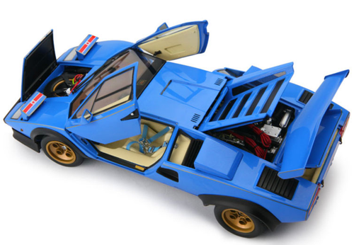 1/18 Kyosho Lamborghini Countach LP500S (Blue) w/ Blue Mirrors Diecast Car Model