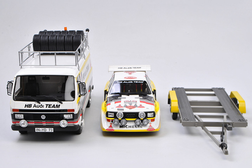 1/18 OTTO Rally Set Portugal Audi Team Volkswagen VW T1 Bus & Audi S1 Resin Car Model Limited