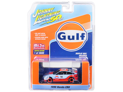 "1/64 Johnny Lightning 1990 Honda CRX #14 ""Gulf Oil"" ""Johnny Lightning 50th Anniversary"" Limited Edition to 3,600 pieces Worldwide Diecast Car Model"