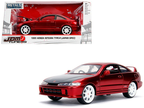 """1/24 Jada1995 Honda Integra Type-R """"Japan Spec"""" RHD (Right Hand Drive) Candy Red with Carbon Hood and White Wheels """"JDM Tuners"""" Diecast Car Model"""