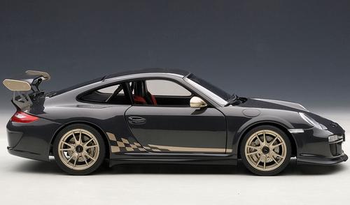 1/18 AUTOART PORSCHE 911(997) GT3 RS 3.8 (GREY BLACK W/ WHITE GOLD METALLIC STRIPES) Diecast Car Model 78142