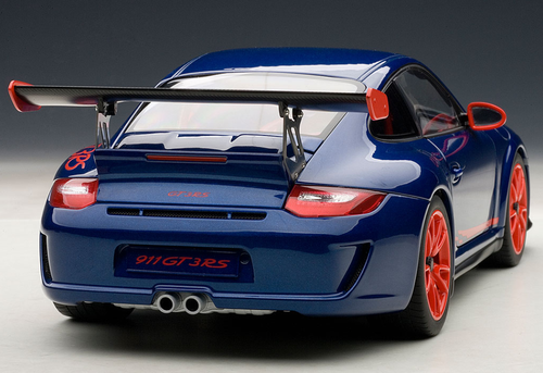 1/18 AUTOART PORSCHE 911 997 GT3 RS 3.8 BLUE W/ ORANGE RIM Diecast Model 78144