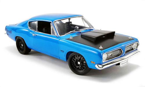 1/18 ACME 1969 Plymouth Barracuda Hemi Cuda Street Fighter - Blue with black bonnet Diecast Car Model