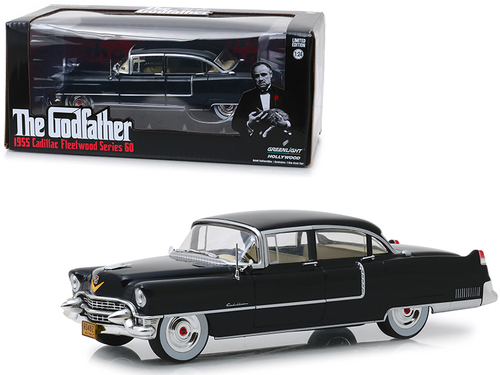 """1955 Cadillac Fleetwood Series 60 Black """"The Godfather"""" (1972) Movie 1/24 Diecast Model Car by Greenlight"""