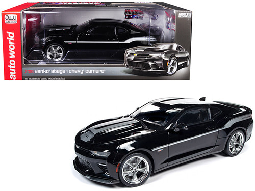 2018 Chevrolet Camaro Yenko/SC Stage I Coupe Black with Silver Stripes Limited Edition to 702 pieces Worldwide 1/18 Diecast Model Car by Autoworld
