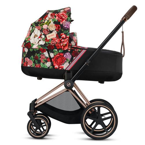 Cybex e-Priam Pram inc Lux Carrycot - Spring Blossom Dark