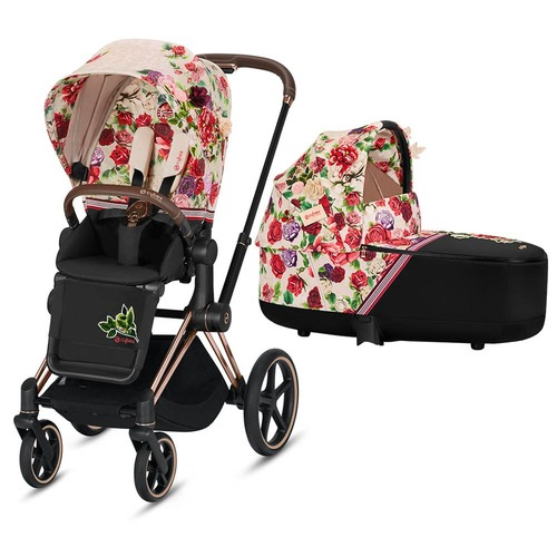 Cybex Priam Pram inc Lux Carrycot - Spring Blossom Light