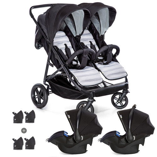 Hauck Rapid 3R Duo Twin Shop 'N Drive Travel System - Silver/Charcoal