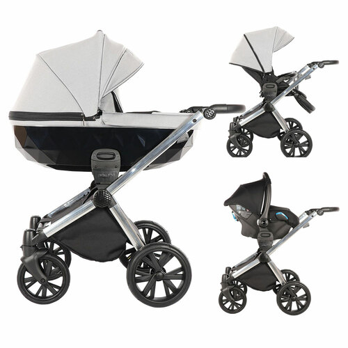Insevio 3-in-1 Luxury Travel System - Light Grey