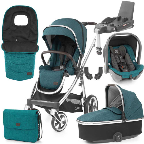 Babystyle Oyster 3 Luxury 7-Piece Bundle - Mirror Chassis/Peacock
