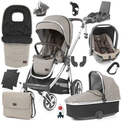 Babystyle Oyster 3 Ultimate 12-Piece Bundle - Mirror Chassis/Pebble