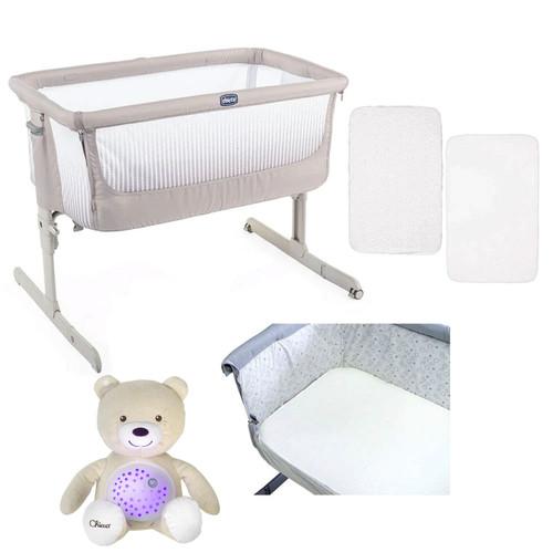 Chicco Next 2 Me Air Side-Sleeping Crib + Accessories Bundle - Dark Beige
