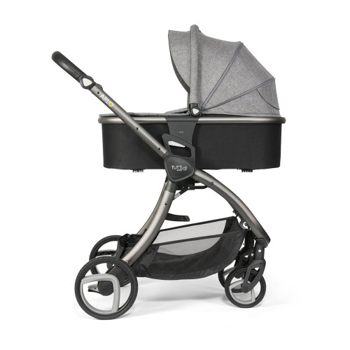 Tutti Bambini Arlo Pushchair + Carrycot - Charcoal / Charcoal - carrycot mode - side