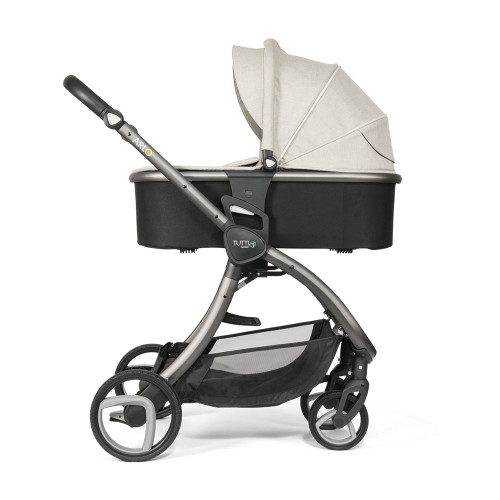 Tutti Bambini Arlo Pushchair + Carrycot -Charcoal / Oatmeal - carrycot mode - side
