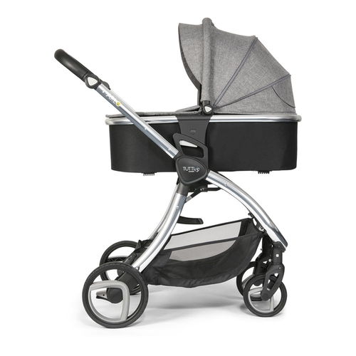 Tutti Bambini Arlo Pushchair + Carrycot - Chrome / Charcoal - carrycot mode - side