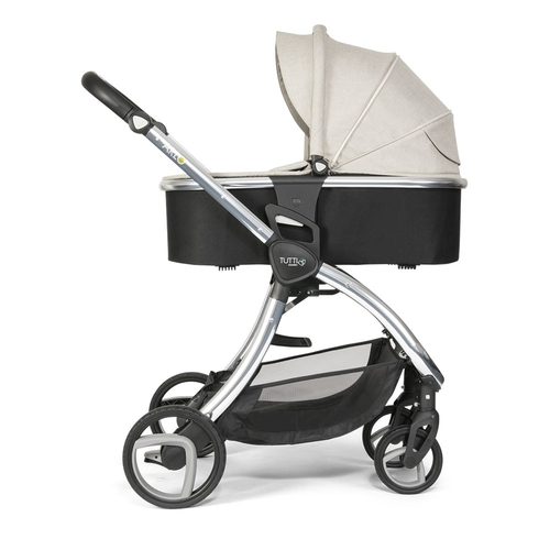 Tutti Bambini Arlo Pushchair + Carrycot - Chrome / Oatmeal - carrycot mode - side