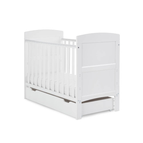 Obaby Grace Mini Cot Bed & Under Drawer - White