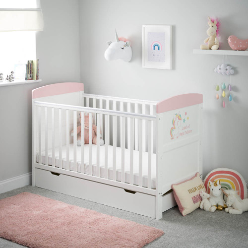 Obaby Grace Inspire Cot Bed & Under Drawer - Unicorn