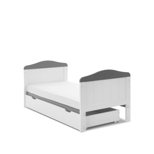 Obaby Whitby Cot Bed & Under Drawer - White with Taupe Grey
