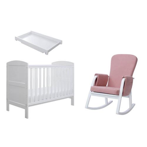 Ickle Bubba Coleby Mini 4 Piece Sleep, Feed & Change Bundle - Pink/White