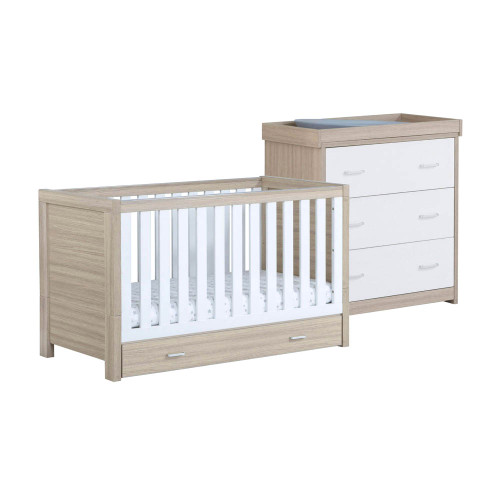 Babymore Luno 2-Piece Room Set with Drawer - Oak/White