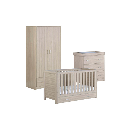 Babymore Luno 3-Piece Room Set with Drawer - Oak