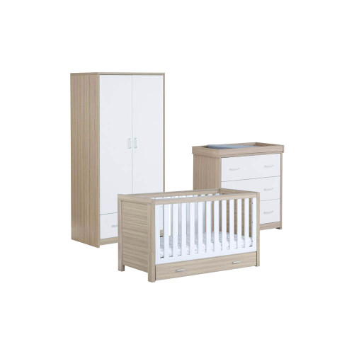 Babymore Luno 3-Piece Room Set with Drawer - Oak/White