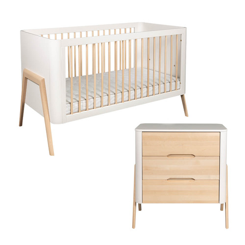 Troll Torsten 2-Piece Cot Bed & Dresser Room Set - White/Natural