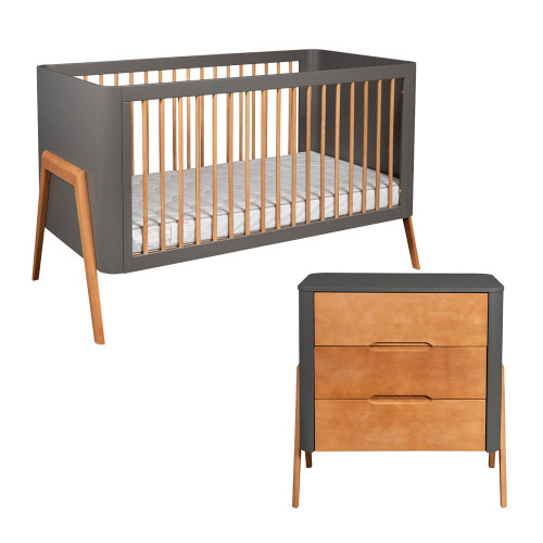 Troll Torsten 2-Piece Cot Bed & Dresser Room Set - Grey/Teak