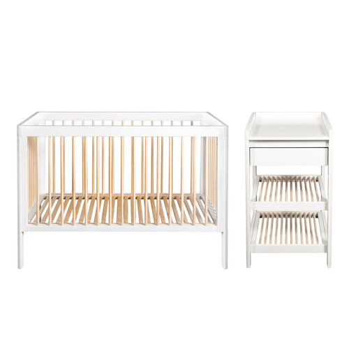 Troll Lukas 2-Piece Cot & Changing Table Room Set - White/Natural