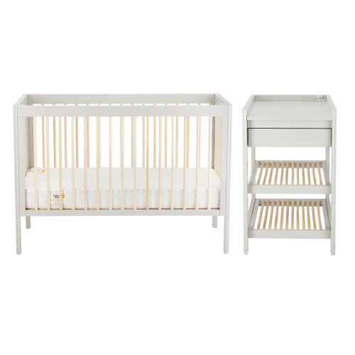 Troll Lukas 2-Piece Cot & Changing Table Room Set - Grey/Natural
