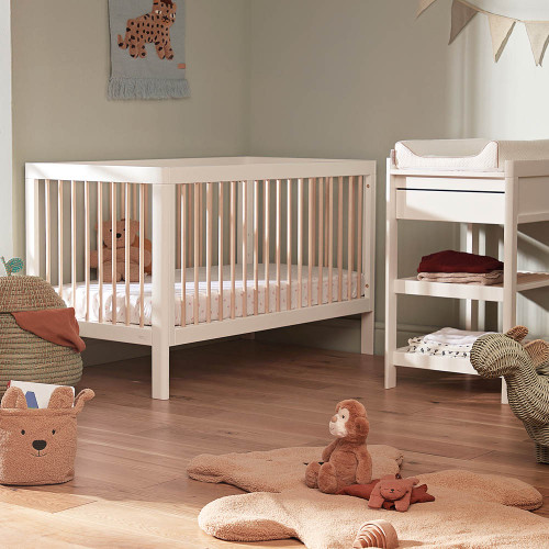 Troll Lucas 2-Piece Cot Bed & Changing Table Room Set - White/Natural