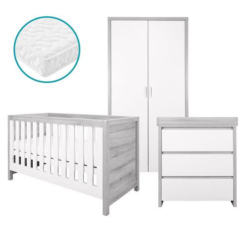 Tutti Bambini Modena 3 Piece Room Set + FREE Mattress - Grey Ash/White