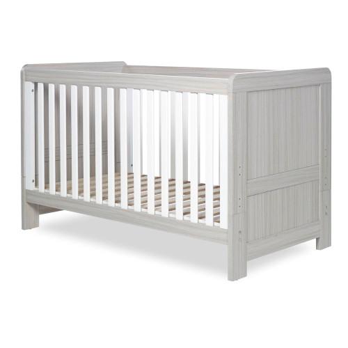 Ickle Bubba Pembrey Cot Bed - Ash Grey & White Trend