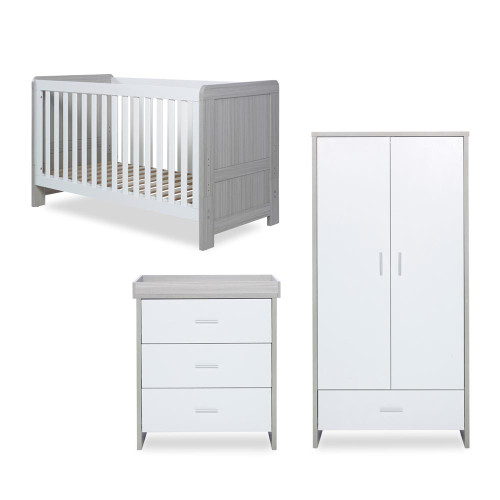 Ickle Bubba Pembrey 3 Piece Furniture Set - Ash Grey & White