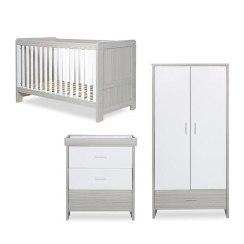 Ickle Bubba Pembrey 3 Piece Furniture Set - Ash Grey & White Trend