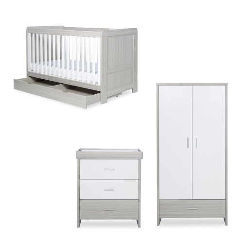 Ickle Bubba Pembrey 3 Piece Furniture Set & Under Drawer - Ash Grey & White Trend