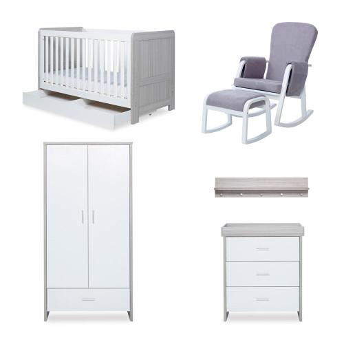 Ickle Bubba Pembrey 8 Piece Furniture Bundle - Ash Grey & White