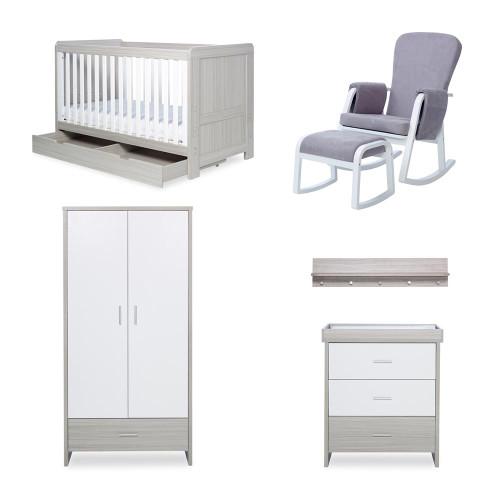 Ickle Bubba Pembrey 8 Piece Furniture Bundle - Ash Grey & White Trend