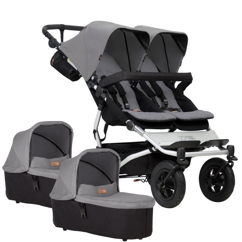 Mountain Buggy Duet V3 + 2 Carrycots - Silver