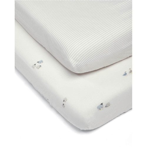 Mamas & Papas Cotbed Fitted Sheets (2 Pack) - Welcome to the World Farm