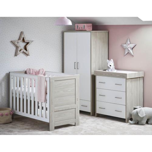 Obaby Nika Mini 3 Piece Room Set - Grey Wash & White