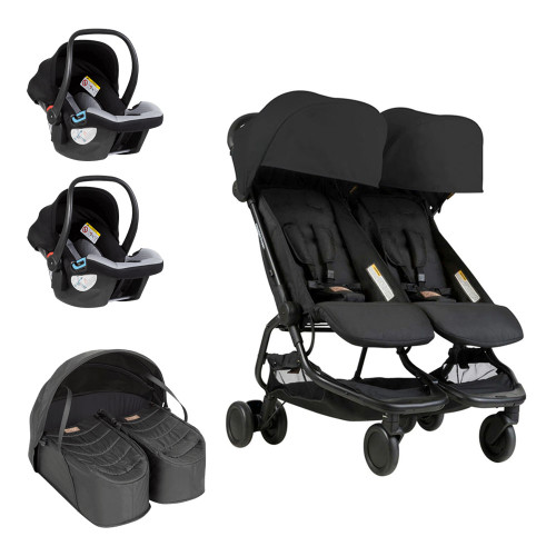 Mountain Buggy Nano Duo Travel System & Cocoon for Twins Bundle - Black