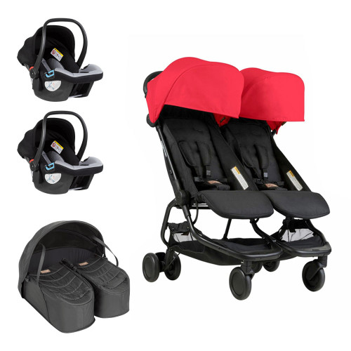 Mountain Buggy Nano Duo Travel System & Cocoon for Twins Bundle - Ruby