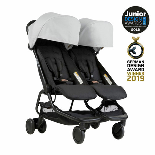 Mountain Buggy Nano Duo Travel System & Cocoon for Twins Bundle - Silver
