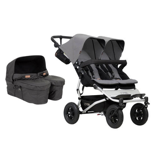 Mountain Buggy Duet V3 and Carrycot Plus for Twins Bundle - Silver