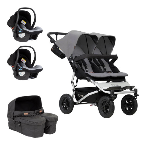 Mountain Buggy Duet V3 Travel System & Carrycot Plus for Twins Bundle - Silver